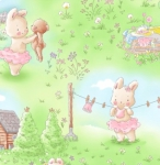 TIMELESS TREASURES - Bunny In The Meadow - Multi - FLANNEL