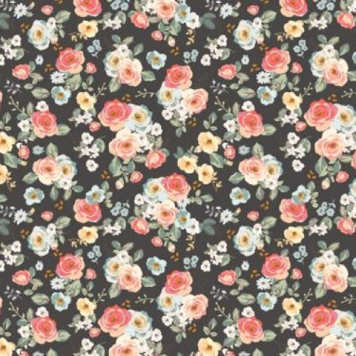 RILEY BLAKE - Gingham Gardens - Floral - Charcoal