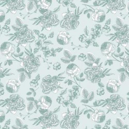 RILEY BLAKE - Gingham Gardens - Lined Floral - Aqua