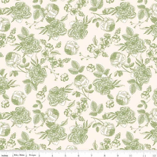 RILEY BLAKE - Gingham Gardens - Lined Floral - Green