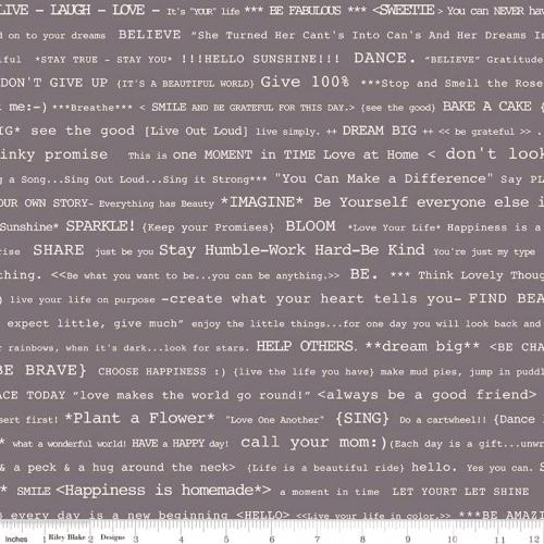 RILEY BLAKE - Bee Basics by Lori Holt - Happy Text - Gray