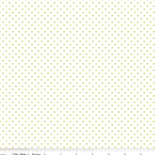RILEY BLAKE - Swiss Dot on White - Lime
