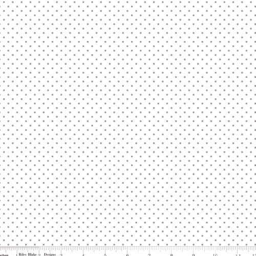 RILEY BLAKE - Swiss Dot on White - Gray