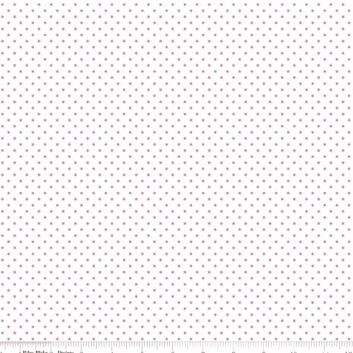 RILEY BLAKE - Swiss Dots on White - Hot Pink