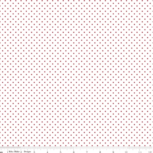 RILEY BLAKE - Swiss Dot- Red Dot on White