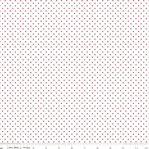 RILEY BLAKE - Swiss Dot- Red Dot on White - #2604A-