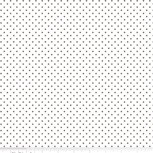 RILEY BLAKE - Swiss Dots - Brown on White