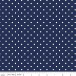 RILEY BLAKE - White Swiss Dot on Navy