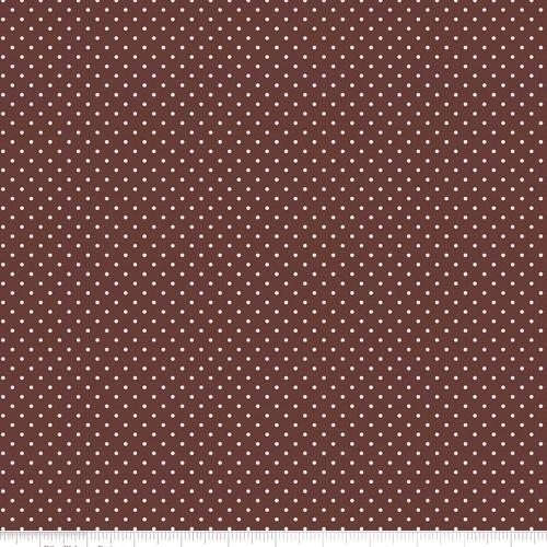 RILEY BLAKE - White Swiss Dots on Brown
