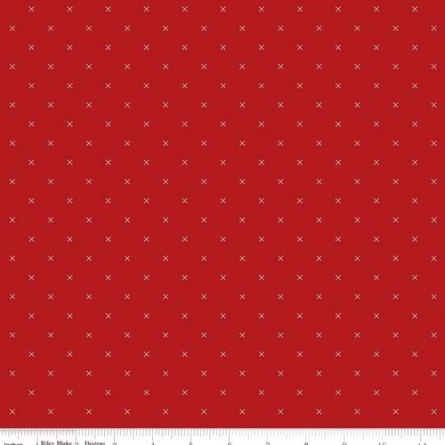RILEY BLAKE - Bee Cross Stitch by Lori Holt - Barn Red