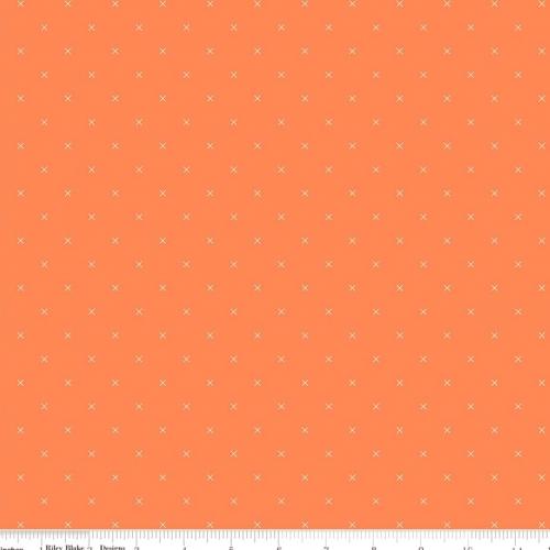 Skinny - 5/8 Yard - RILEY BLAKE - Bee Cross Stitch by Lori Holt - Pumpkin