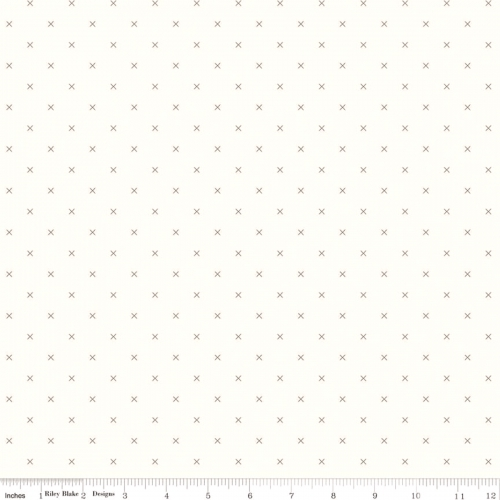 Skinny - 2/3 Yard - RILEY BLAKE - Bee Cross Stitch by Lori Holt - Pebble on Cloud