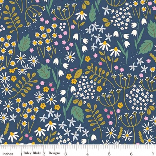 Skinny - SK2312- 1 yd - RILEY BLAKE - Wild Bouquet - Wildflowers - Navy