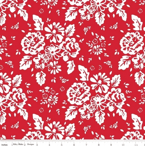 RILEY BLAKE - So Ruby - Large Floral On Red