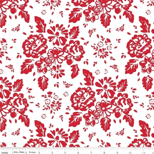 RILEY BLAKE - So Ruby - Large Floral On White - #2148-