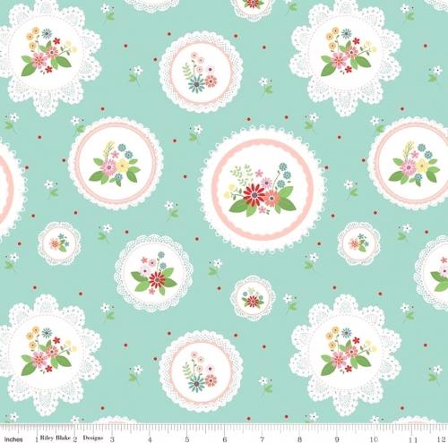 RILEY BLAKE - Vintage Keepsakes - Floral Doilies Aqua