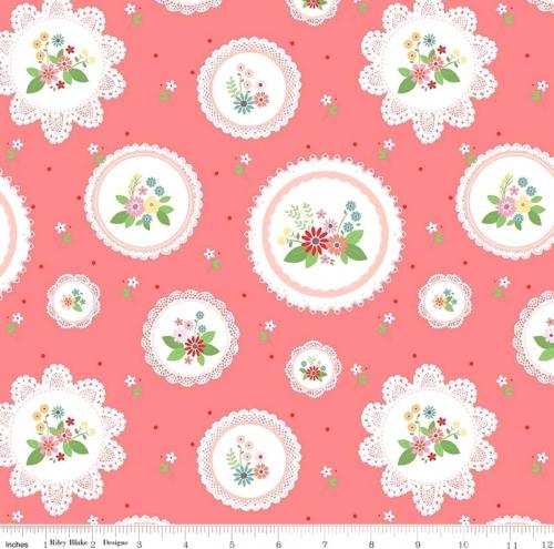 RILEY BLAKE - Vintage Keepsakes - Floral Doilies Pink