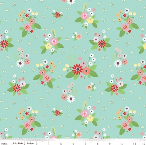RILEY BLAKE - Vintage Keepsakes - Aqua Floral - #2006-