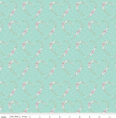 RILEY BLAKE - Vintage Keepsakes - Floral Heart Aqua