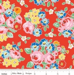 RILEY BLAKE - PENNY ROSE FABRICS - Elea Lutz - Bluebirds on Roses - Main - Red - #1982-
