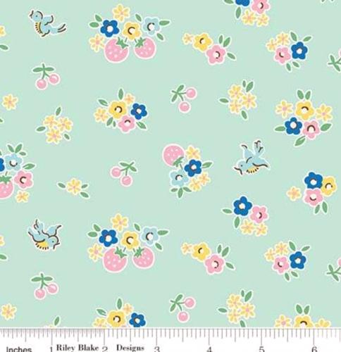 RILEY BLAKE - PENNY ROSE FABRICS - Elea Lutz - Bluebirds on Roses - Floral - Mint - #1978