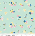 RILEY BLAKE - PENNY ROSE FABRICS - Elea Lutz - Bluebirds on Roses - Floral - Mint - #1978