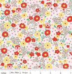 RILEY BLAKE - PENNY ROSE FABRICS - Elea Lutz - Bluebirds on Roses - Kitty - Red - #1984