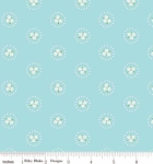 RILEY BLAKE - PENNY ROSE FABRICS - Elea Lutz - Bluebirds on Roses - Circle - Aqua  - FB7780-