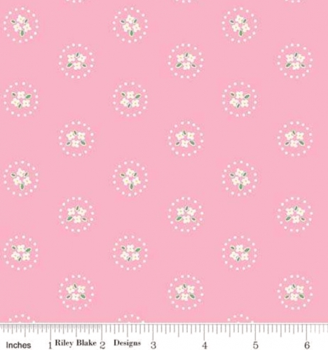 RILEY BLAKE - PENNY ROSE FABRICS - Elea Lutz - Bluebirds on Roses - Circles - Pink - #1979