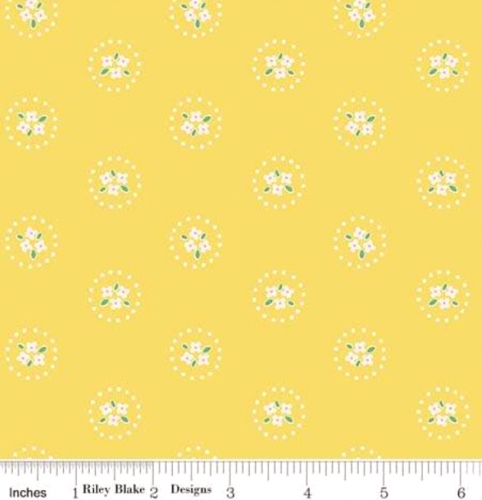 RILEY BLAKE - PENNY ROSE FABRICS - Elea Lutz - Bluebirds on Roses - Circles - Yellow - #1975