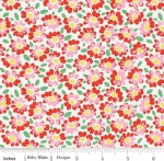 RILEY BLAKE - PENNY ROSE FABRICS - Elea Lutz - Bluebirds on Roses - Daisy - Red -  #1981