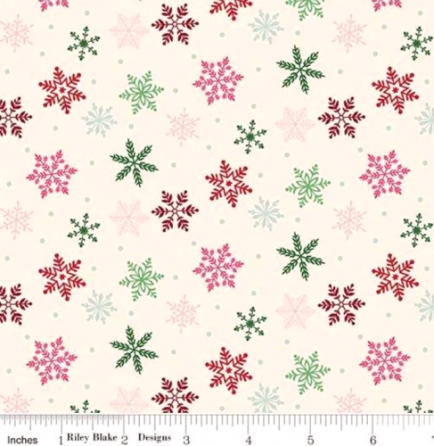 RILEY BLAKE - Merry and Bright - Snowflakes -Cream