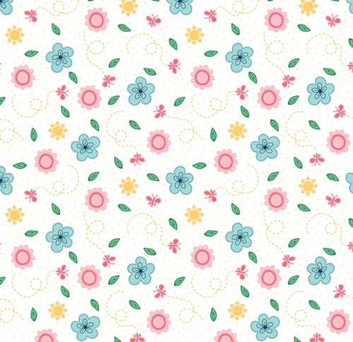 RILEY BLAKE - Flutter And Shine - Floral And Dots - White