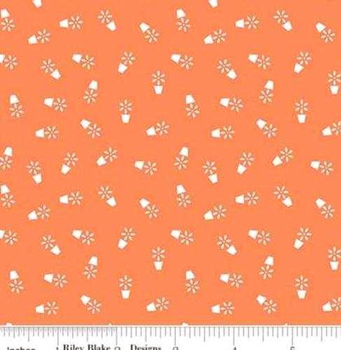 RILEY BLAKE - Farm Girl Vintage - Companion Prints - Flower Pots - Pumpkin - #2366-