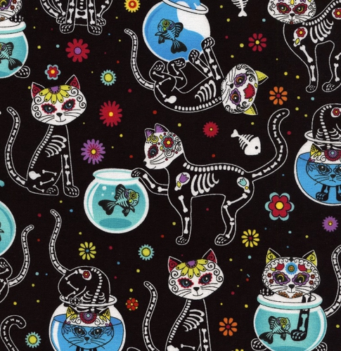 TIMELESS TREASURES - Day of the Dead Kitty - Black