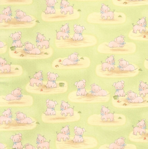 TIMELESS TREASURES - Bunnies - FLANNEL - Pigs Playing