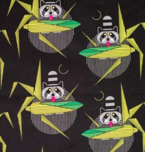 BIRCH FABRICS - Organic - Cats and Raccs - Cornprone Black