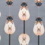 BIRCH FABRIC - Organic - Cats and Raccs - Along Came a Spider Gray
