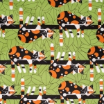 BIRCH FABRIC - Organic - Cats and Raccs - Limp on a Limb Green