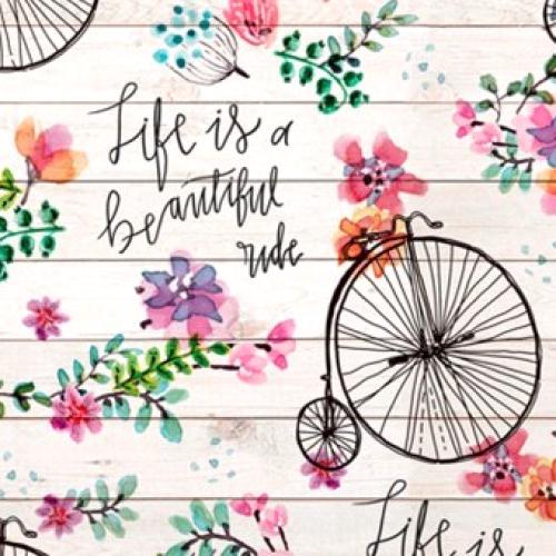 DAVID TEXTILES - Beautiful Ride - One Yard - Bicycles - Text - Cream - Multi