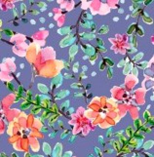 DAVID TEXTILES - Beautiful Ride - Flowers - Blue - Multi