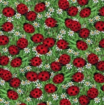 TIMELESS TREASURES - Ladybugs - Ladybugs & Daisies - Green