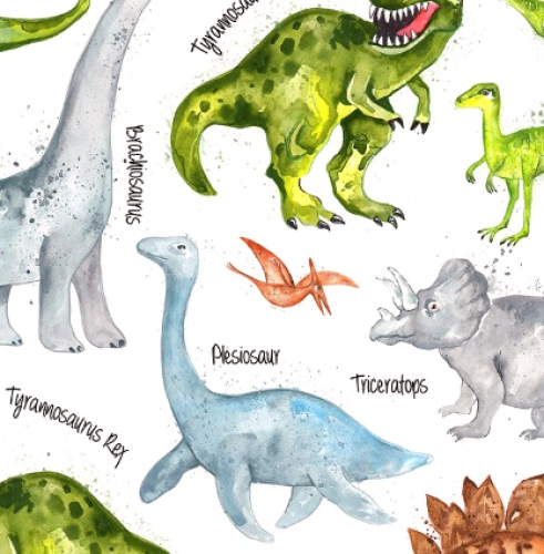 TIMELESS TREASURES - Dino and Names - White