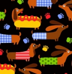 TIMELESS TREASURES - Hot Dogs - Black