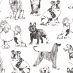 TIMELESS TREASURES - Pet Sketch - Sketched Realistic Dogs - White