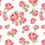 POPPIE COTTON - Dots and Posies - Prize Roses - White