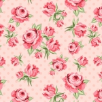 POPPIE COTTON - Dots and Posies - Prize Roses - Blush