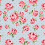 POPPIE COTTON - Dots and Posies - Prize Roses - Blue