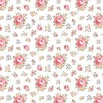 POPPIE COTTON - Dots and Posies - Primroses - White