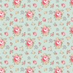 POPPIE COTTON - Dots and Posies - Primroses - Teal